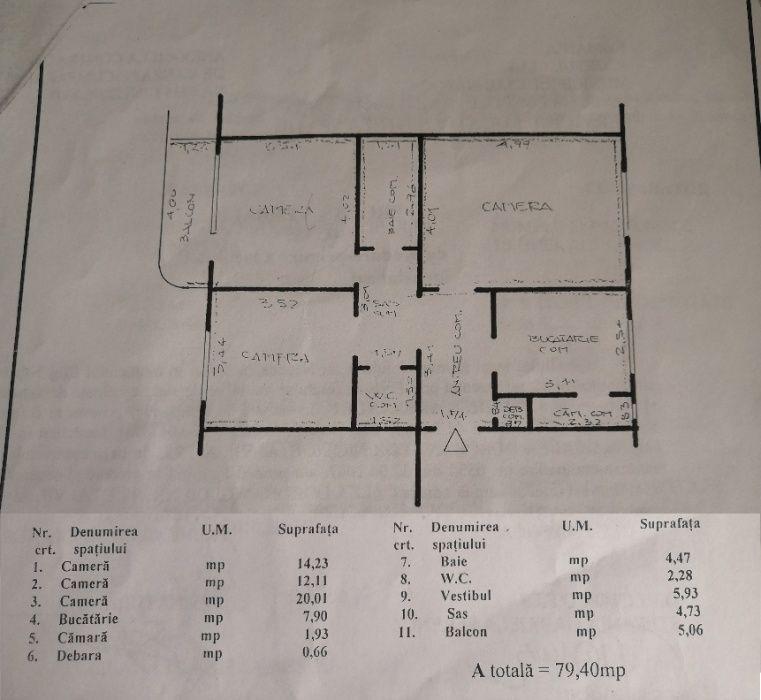 Apartament 3 camere 74 mp nefinisat Dorobantilor, Marasti, Cluj Napoca