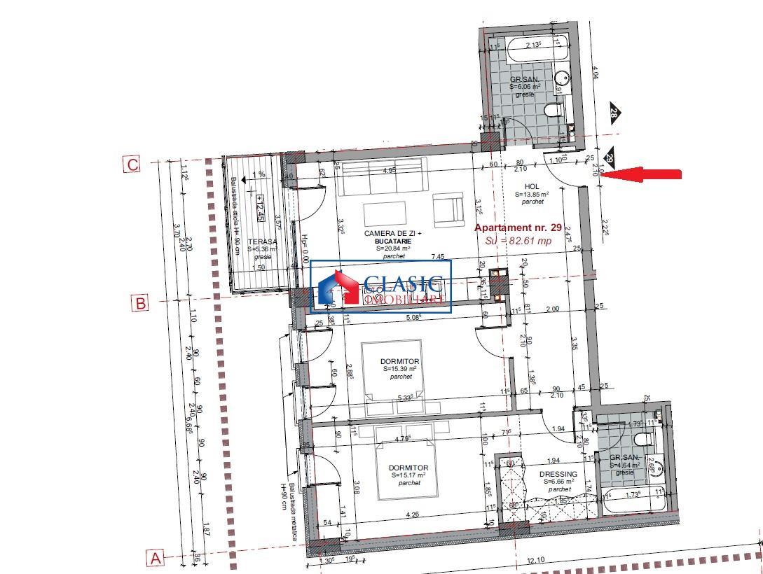 Apartament 3 camere 83 mp, 2 bai, in Centru, P ta M. Viteazu, parcare