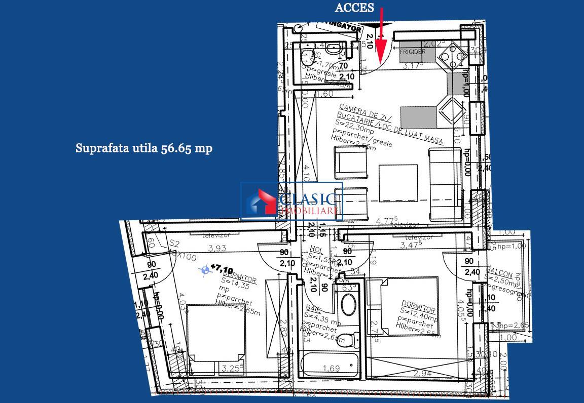 Vanzare Apartament 3 camere Centru zona Platinia Ursus, Cluj Napoca