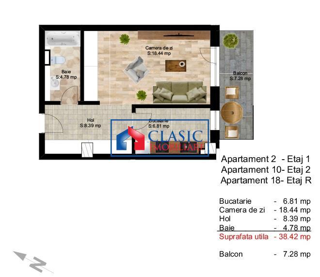 Vanzare apartament o camera, 38 mp utili, zona Centru! Cluj Napoca