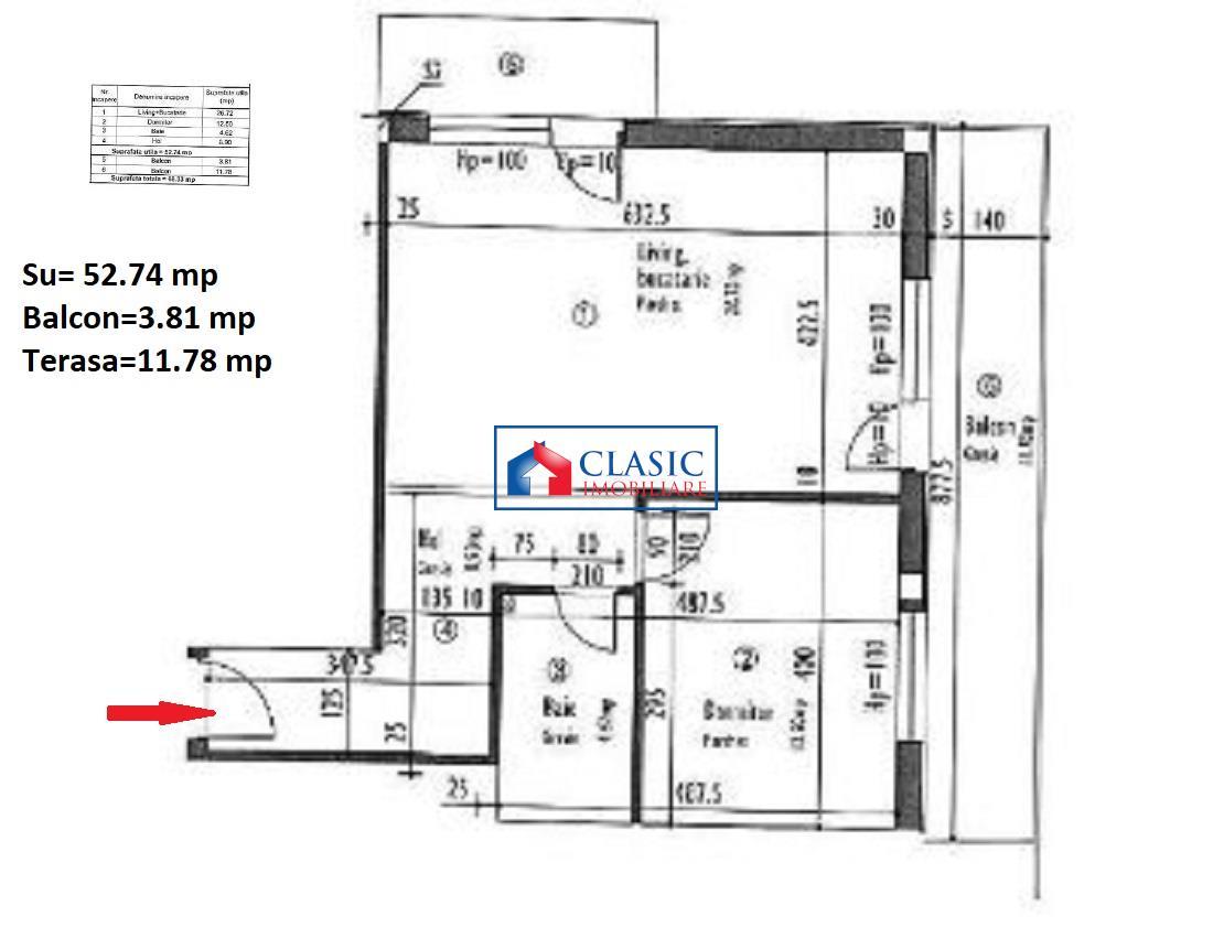 Apartament 2 camere cu terasa si CF in D.Rotund T.Turcului