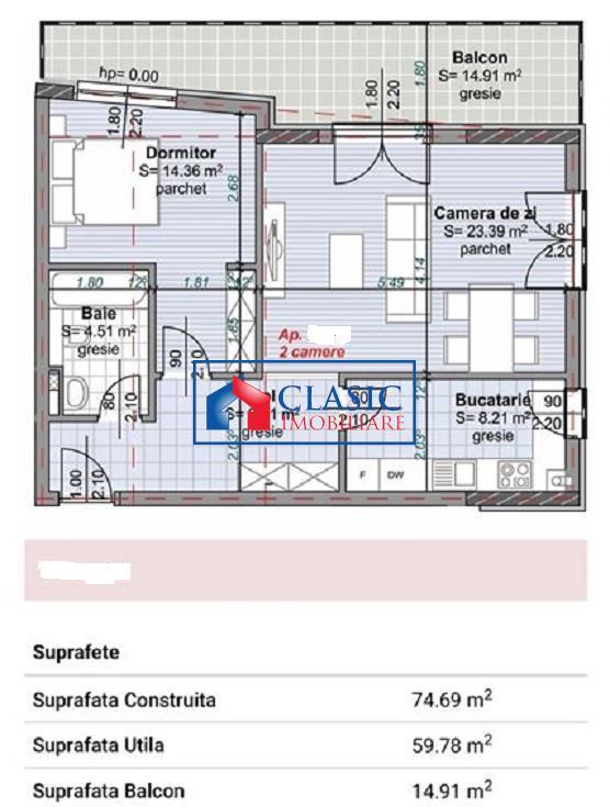 Vanzare apartament 2 camere decomandat bloc nou Centru Pta Abator
