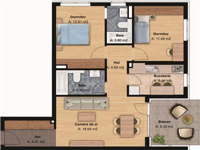 Vanzare apartament 3 camere zona Grand Hotel Italia Buna Ziua, Cluj-Napoca
