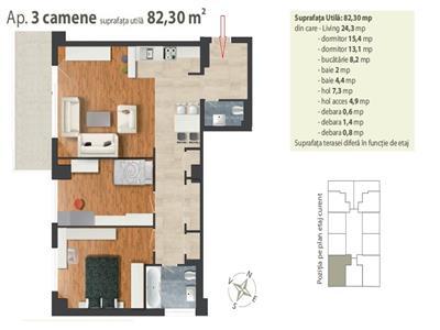 Vanzare Apartament 3 camere lux  in Centru, Cluj-Napoca