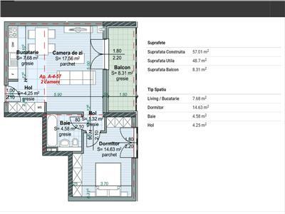 Apartament 2 camere in Centru, P-ta Abator