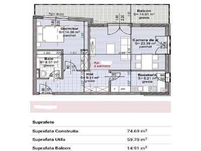 Vanzare apartament 2 camere decomandat bloc nou Centru-Pta Abator