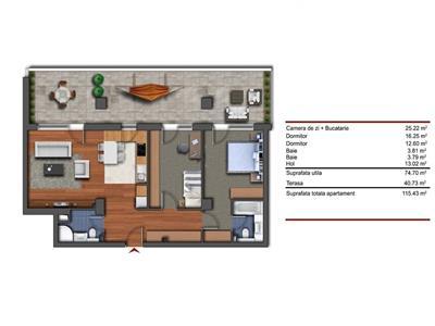 Vanzare apartament 3 camere cu terasa 40 mp Buna Ziua, Cluj-Napoca